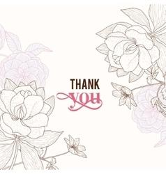 Vintage pink brown frame floral drawing vector