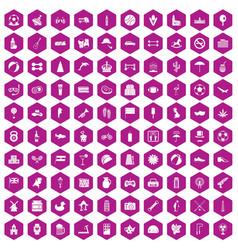 100 ball icons hexagon violet vector