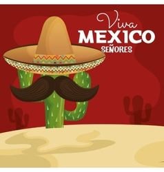 Icon viva mexico cactus with hat and moustache vector