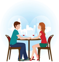 Lovers in cafe vector image