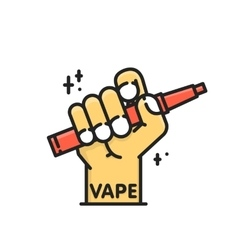 Cartoon graphic hand holding electronic cigarette vector