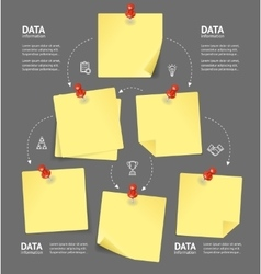 Business plan with blank note and pushpins vector