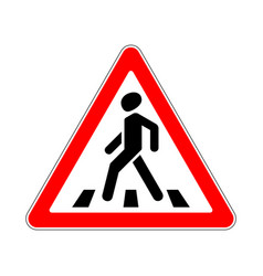 Road sign warning crosswalk on white background vector