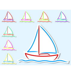 Boat stickers vector