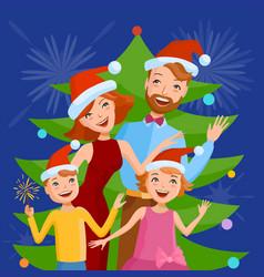 Cute cartoon family celebrates the new year vector