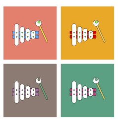 flat icon design collection kids toy xylophone vector image