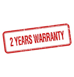 2 years warranty red square grungy vintage vector