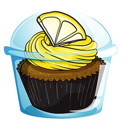 A flavorful cupcake inside a covered cup vector image
