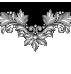 Background with baroque ornamental floral silver vector