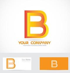 Letter b orange 3d logo icon vector image