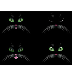 Black cat face with green eyes vector