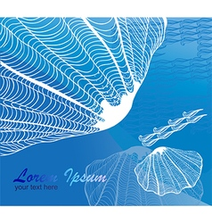 Line drawing seashell on blue background vector