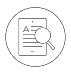 Tablet and magnifying glass line icon vector image