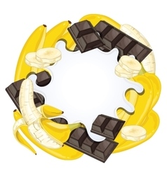 Yogurt splash isolated on chocolate and banana vector