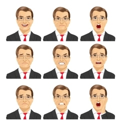 Set of different expressions of businessman vector