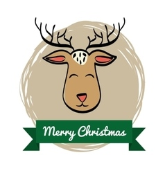Deer cartoon icon merry christmas graphic vector
