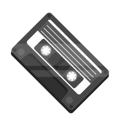 Audio cassette icon in monochrome style isolated vector