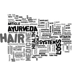 Ayurveda can help stop hair loss text word cloud vector