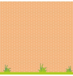 background red brick wall and grass vector image vector image