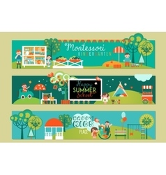 Banners and logotypes set for early learning vector