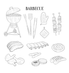 Barbecue related isolated items and food hand vector