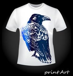 Bird of a raven on a t-shirt vector