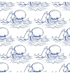Blue hand drawn waves seamless pattern vector