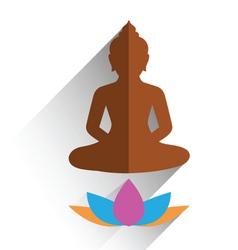 budha sitting on lotus flat design vector image