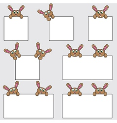 Bunny holding blank banners vector image vector image