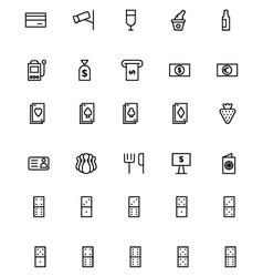 Casino line icons 3 vector