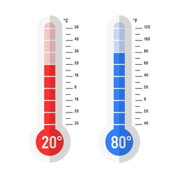 Celsius and fahrenheit thermometer icon vector