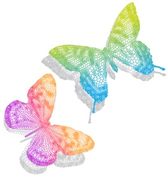 Colorful butterflies with shadow vector