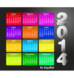 Colorful calendar for 2014 in spanish vector image vector image