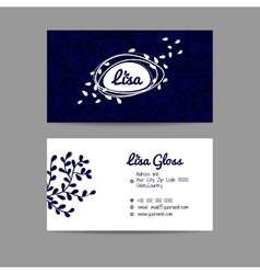Design business card with floral ornament vector