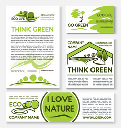 Eco green business banner template set design vector