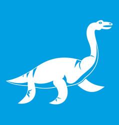 elasmosaurine dinosaur icon white vector image vector image