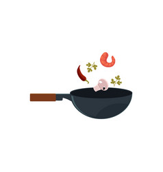 Flat asian wok with flying ingredients vector