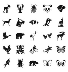 Forest animals icons set simple style vector