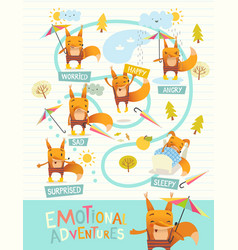 funny fox with colorful umbrella expressing vector image vector image