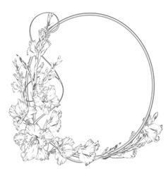Gladiolus flower vintage elegant flowers black vector