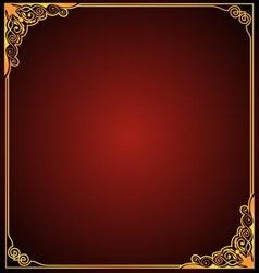 Gold frame floral corner vector image