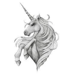Graphic unicorn in stippling technique vector