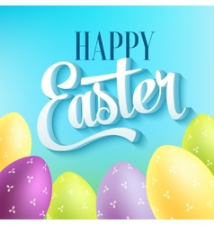 Happy easter typography on blur background with vector image vector image