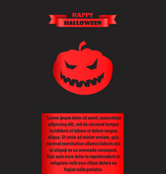 happy halloween poster with silhouette of pumpkin vector image vector image