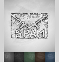 Letter spam icon hand drawn vector