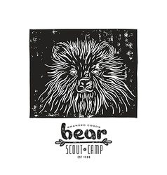 Linocut with a picture of bear vector image