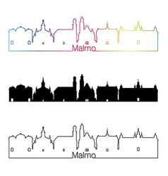 Malmo skyline linear style with rainbow vector image vector image