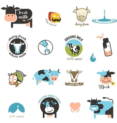 Milk Labels elements and icons vector image