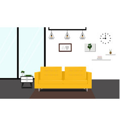 modern livingroom with yellow sofa vector image