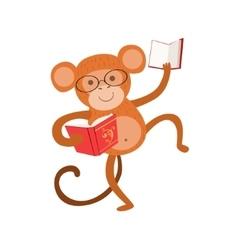 Monkey smiling bookworm zoo character wearing vector